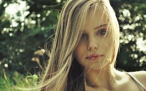 face, girl, blonde, portrait