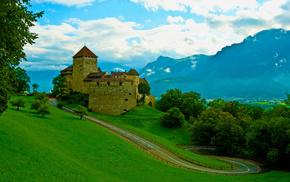 stunner, mountain, trees, sky, castle