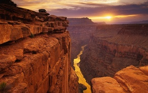 desert, landscape, rock, river, canyon, Sun
