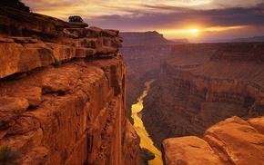 пустыня, пейзаж, скала, река, каньон