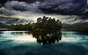 forest, sky, fishing, reflection, cloudy