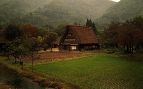 кабина, природа, Япония, лес, трава