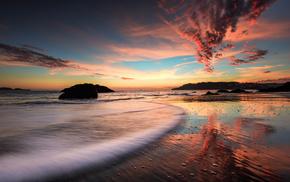 скалы, отражение, вечер, природа, закат, море