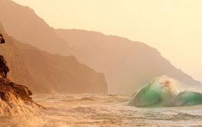 красота, красивые, волна, скалы, Гавайи, берег