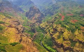 небо, зелень, каньон, природа, река, красота