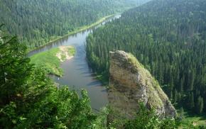 небо, красота, лес, природа, река, скалы