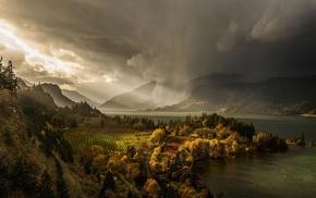 лес, осень, дождь, США, солнца, озеро