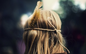 girl, blurred, feathers, hair, blonde