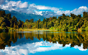 beautiful, lake, sky, forest, reflection