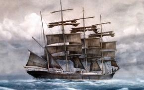 painting, sailfish, cloudy, sea, stunner
