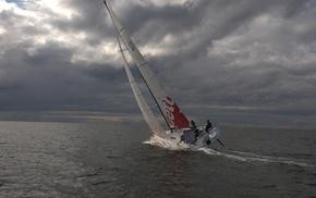 sky, clouds, stunner, yacht, sea