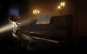 пианино, скелет, фэнтези, музыка