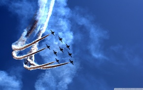 military aircraft, aircraft, contrails, airplane