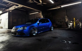 Golf GTI, Volkswagen, car, tuning, blue cars