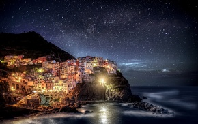 sea, mountain, night, cities, Italy