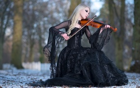 музыка, Stock, Winters Melody, Black Dress, Snow, Violin