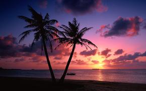 побережье, красивые, закат, вечер, облака, landscape