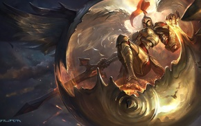 Kayle, angel, girl, sword, League of Legends, gold
