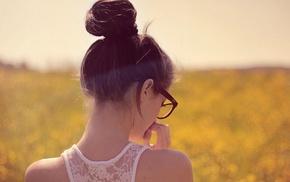 девушка, очки, девушки на открытом воздухе, брюнетка