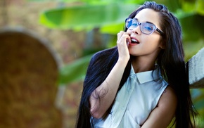 glasses, brunette, girl outdoors, girl, long hair