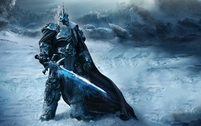 sword, warrior, fantasy, snow