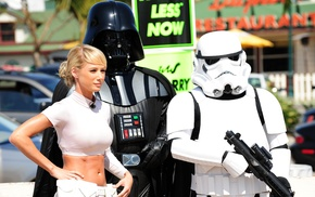 Darth Vader, blonde, Star Wars, short tops, clone trooper, Sara Jean Underwood