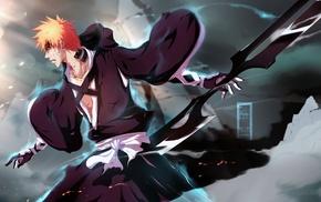 Bleach, orange hair, anime boys, Kurosaki Ichigo, weapon
