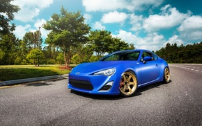 Toyota 86, blue cars, rims, car