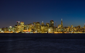 город, океан, San Francisco Skyline, огни, города, ночь