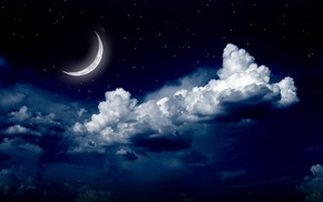 stunner, clouds, moon, stars, night