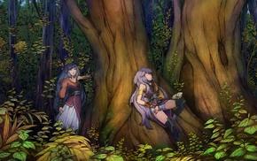 soft shading, anime girls, trees