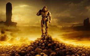 Halo 3, skull, artwork, Master Chief, video games, Halo