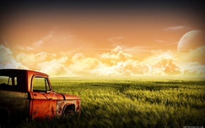 landscape, nature, automobile, cars, retro
