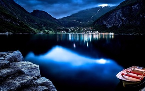mountain, water, night, nature, boat