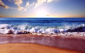 horizon, nature, sea, surf, waves