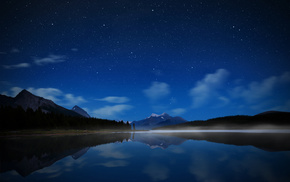 stars, lake, mountain, night, sky