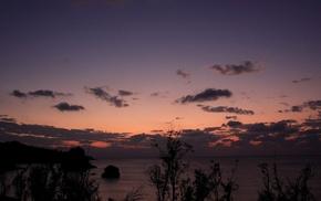 облака, вечер, красивые, море