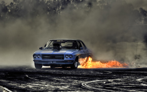 cars, drift, road, smoke, car