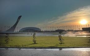 олимпиада, города, стадионы, огонь, олимпийский парк