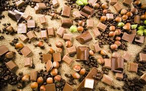 шоколад, кофе, скатерть, вкусно, орехи, сладости