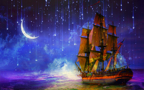 sailfish, ship, fantasy, sea, night
