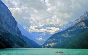 лодка, Banff National Park, пейзаж, озеро, природа, горы