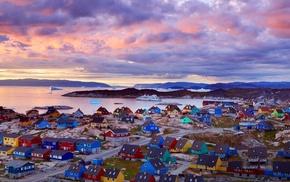 льдины, домики, гренландия, города, паром, берег