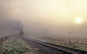 train, mist, railway