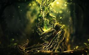 цифровое искусство, ветка, лес, деревья, дверь