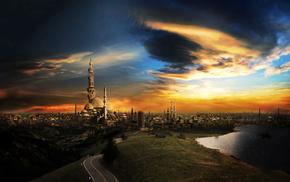 город, красивые, небо, река