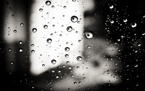 water on glass, water drops, monochrome
