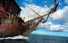 корабль, паруса, небо, красивые, облака, море