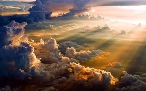 тучи, облака, небо, свет, природа