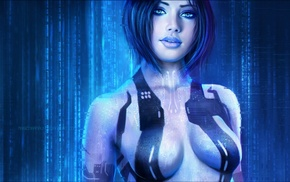 Halo 3, Halo 2, blue hair, video games, Cortana, girl